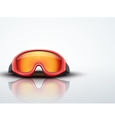 Light background red ski goggles vector