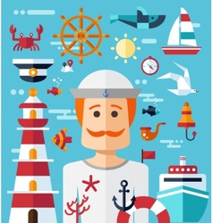 Vintage flat design modern nautical marine comp vector
