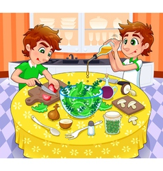 Twins are preparing a green salad vector