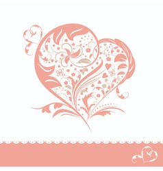 Abstract pink flower heart shape wedding invitatio vector