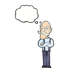 Cartoon bored old man with thought bubble vector