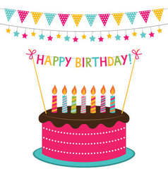 Birthday card with a cake and decoration vector