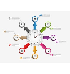 Abstract infographic with arrows and clock in the vector