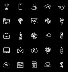Job description line icons on black background vector