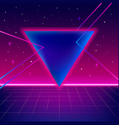 80s sci-fi background with perspective grid vector