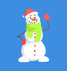 Alive classic three snowball snowman in santa vector