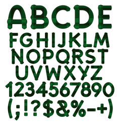 alphabet letters numbers from green cloth tartan vector image vector image