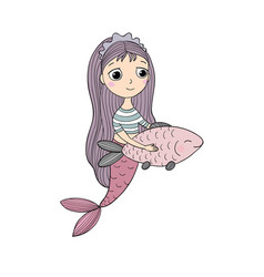 Beautiful little mermaid and fish siren vector