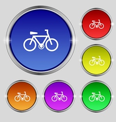 Bicycle icon sign round symbol on bright colourful vector