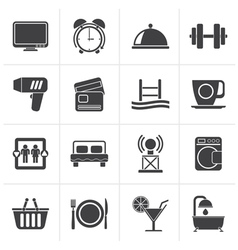Black hotel and motel facilities icons vector