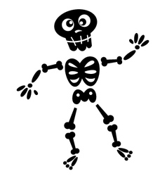 Black skeleton silhouette isolated on white vector image vector image