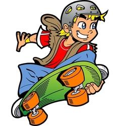Boy Doing Skateboard Jump vector image