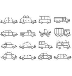 Cars line icons set vector