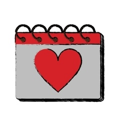 Cartoon valentine day calendar love heart date vector