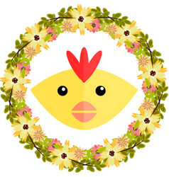 chicken and floral wreath vector image vector image