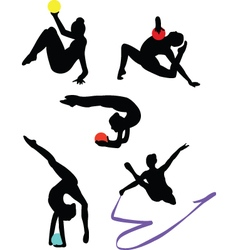 collection of gymnastics vector image vector image