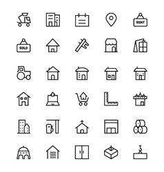 Construction line icons 3 vector