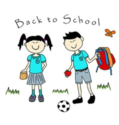 Couple of asian kids goind back to school vector image vector image