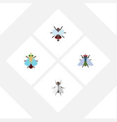 flat icon buzz set of tiny fly hum and other vector image