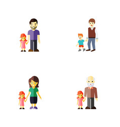 flat icon relatives set of boys grandpa daugther vector image