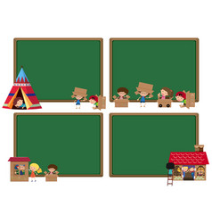 Four board template with kids playing vector