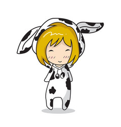 Girl character design mascot cow vector