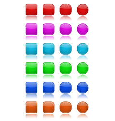 glass buttons set collection of colored 3d icons vector image vector image