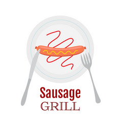 grilled sausage on plate with ketchup mustard vector image