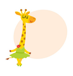Happy cute little giraffe character ballet dancer vector