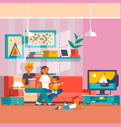 happy family watching tv flat vector image vector image