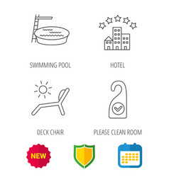Hotel swimming pool and beach deck chair icons vector