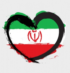Iran heart shape flag vector image