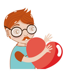 Nice man with glasses and heart in the hands vector