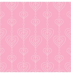 Pink hearts and pearls seamless pattern vector