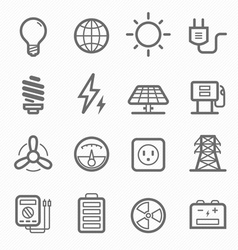 Power symbol line icon set vector