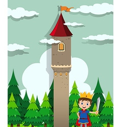 Prince and castle tower vector image vector image