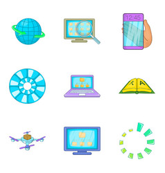 Search algorithm icons set cartoon style vector