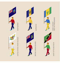 Set of people with flags of caribbean countries vector
