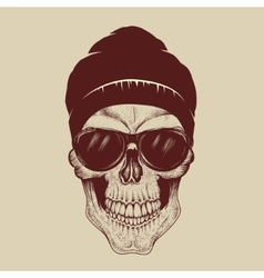Skull with sunglasses and hat vector