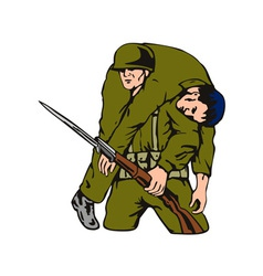 Soldier Carrying Wounded Comrade vector image vector image