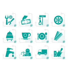 Stylized services and business icons vector