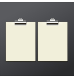 template of white paper clip with a gray vector image