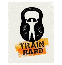 train hard barbell creative workout and fitness vector image vector image