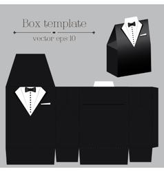Tuxado box template black color vector