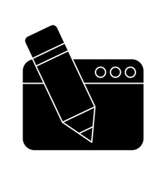 Webpage with pencil isolated icon vector