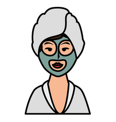 woman with towel in head vector image