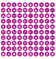 100 nursery school icons hexagon violet vector