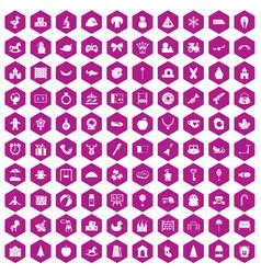 100 nursery school icons hexagon violet vector image