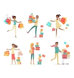 Set of shopping people concepts in flat design vector
