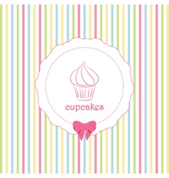 Cupcake and striped background vector